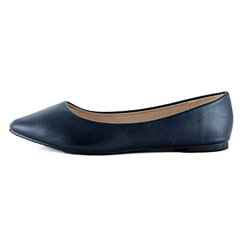 Guilty Heart | Womens Pointy Toe Ballet Slip On Shoe | Casual Comfortable Flats (6 M US, Navy Pu)