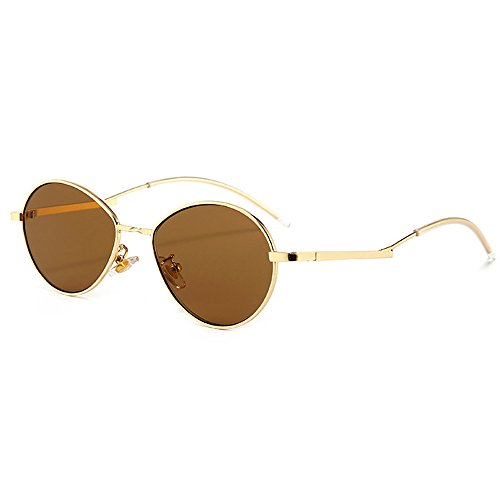 Fauhsto Colorful Small Frame Glasses Sunglasses Sunglasses Eyewear Women Gold Sunglasses Lens Protection tea Vintage UV Sunglasses Frame Metal rw0rqCgx