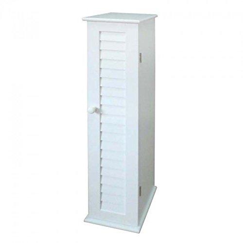 narrow white bathroom accessories storage cupboard