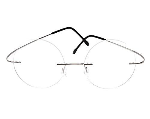 SEREPHIC Memory Titanium Optical Rimless Mens Womens Round Eyeglasses Frame (Silver)