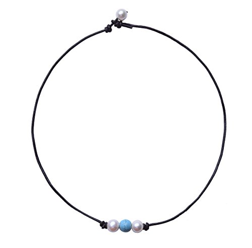 The Feeling Pearl Choker White Pearl and Synthetic Turquoise Beads Necklace Handmade Leather Jewelry for Girls 16