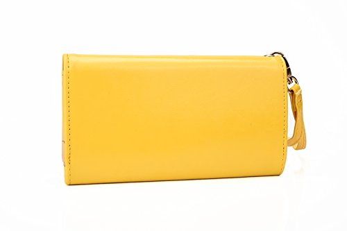 Cooper Cases(TM) Flirt Universal Lenovo Vibe X / X2 / X2 Pro / Z / Z2 / Z2 Pro Smartphone Wallet Case in Yellow (Detachable Lanyard Wrist Strap, Built-in Credit Card/ID Slots, Slip Pocket & Zipper Coin Purse)