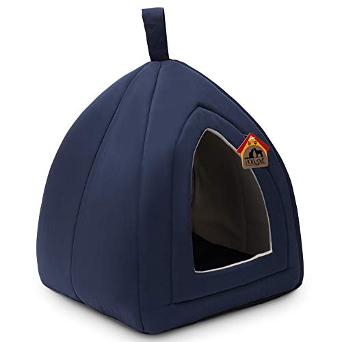 Hollypet 13 × 13 × 14 inches Self-Warming Comfortable Triangle Cat Bed Tent House, Dark Blue