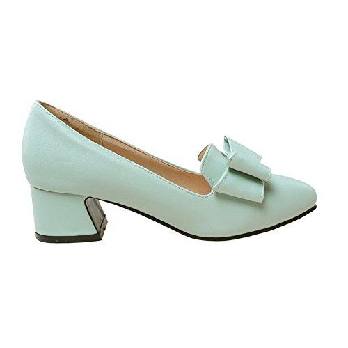 AllhqFashion Damen Spitz Zehe Ziehen auf PU Mittler Absatz Pumps Schuhe Blau