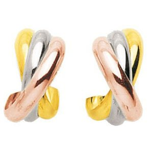 So Chic Bijoux © Boucles d'oreilles Femme Demi Créoles Tricolores 3 Anneaux Arrondis Larges Croisés Or Jaune Blanc & Rose 750/000 (18 carats)