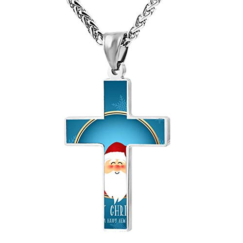 Gjghsj2 Cross Necklace Cute Santa Character Smiling Cross Pendant Religious Jewelry Sets Cross Chain Chokers for Men Women