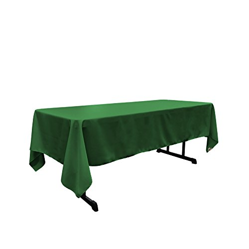 LA Linen Polyester Poplin Rectangular Tablecloth, 60 by 120-Inch, Green Emerald Green Linen Tablecloth