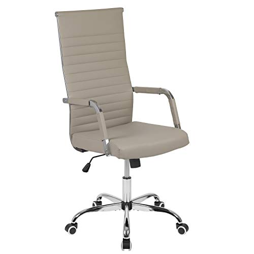 Flash Furniture High Back Tan LeatherSoft Mid-Century Modern Ribbed Swivel Office Chair with Spring-Tilt Control and Arm Wraps