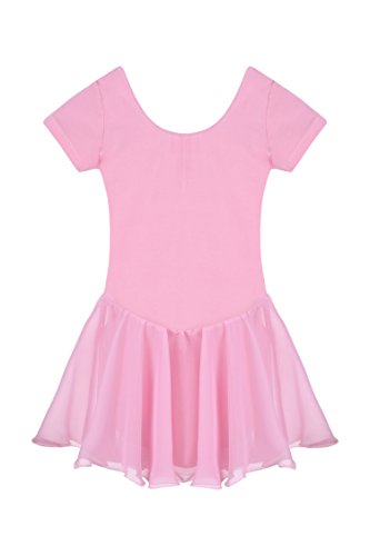 Arshiner Girls' Dance Leotard Ruffle Sleeve (13(Age for 5-6Y), Pink(FBA)) (Cheap Dance Costumes)