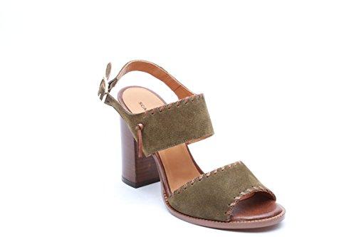 Scarpe italiane sandali donna tacco 9 kaki