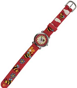 Geneva Kids Wristwatch, Honey Bee, In Gift Box, Red