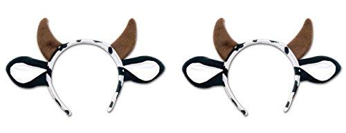 Beistle S60035AZ2 Cow Headband 2 Piece, Brown/White/Black (Cow Headband)