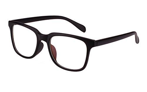 Agstum Wayfarer Plain Glasses Frame Eyeglasses Clear Lens (Mat.black, - Eyeglasses Clear