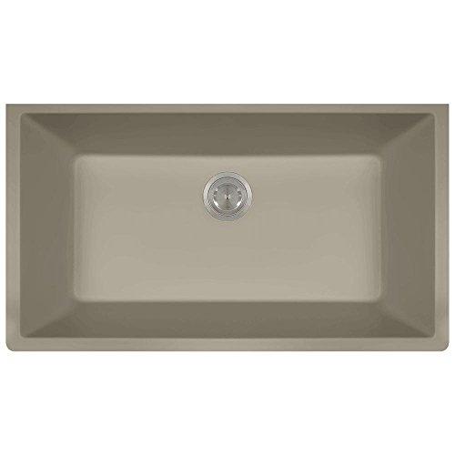 848 Large Single Bowl Quartz Kitchen Sink, Slate, No Additional Accessories