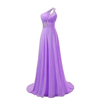 Fashipn Plaza One Shoulder Evening Bridemaid Dresses (US12, violet)