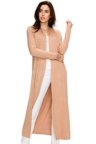 (EttelLut Maxi Long Open Front Lightweight Cardigan Sweaters Regular Plus Size Coffee S)