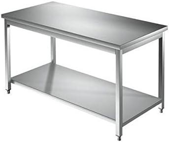 Mesa de acero inoxidable con estante de fondo sin Alzatina Dim. cm ...