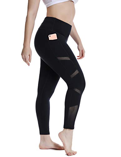 YOHOYOHA Plus Size Workout Mesh Leggings Pockets High Waist Athletic Yoga Pants Women's Tummy Control Best Long XL 2X 3X 4X Black