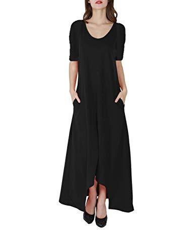 GloryStar Women's V Neck 3/4 Long Sleeves Pleated Tunic Casual Maxi Dresses with Pockets Black 7 XL ()