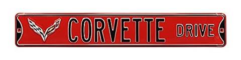 Corvette Drive C7 Red Sign (Corvette Logo Sign)