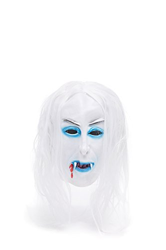 Adult Halloween Horror Vampire Dracula Face Mask Scary Party Role Play With Wig (Snow-white, blue, black, blood red) (Disfraz Para Halloween Zombie)