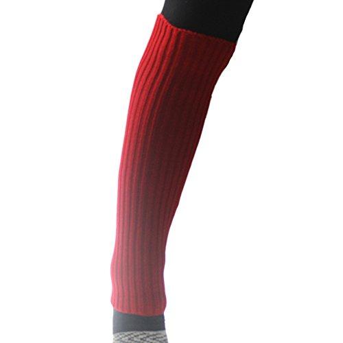Eyourlife2012 Womens Knit Crochet Couleur Bonbon Botte De Jambe Chaud Chaussettes Leggings Rouge