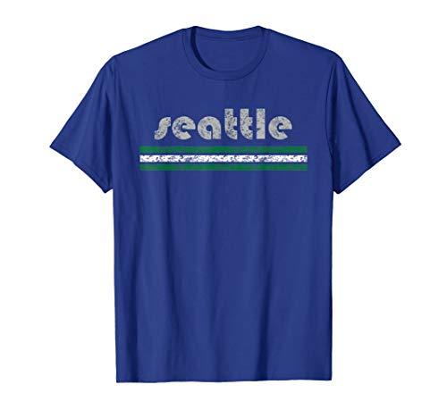 (Seattle T Shirt Retro Three Stripe Weathered Vintage)