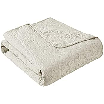 Madison Park Quebec Luxury Oversized Quilted Throw Ivory 60x70Premium Soft Cozy Microfiber With Cotton Fill For Bed, Couch or Sofa