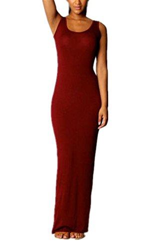 Slim Puro Da Donna Canotta Maniche Popolare Fit Red Semplice Moda Abito Estate Aivosen Abito Dress Vestito Spiaggia Maxi Dark Senza Colore PqFpFwZx