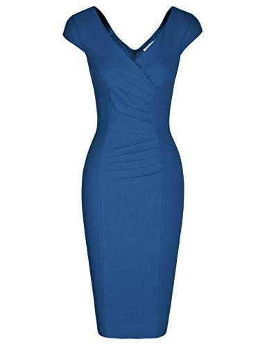 ap Sleeves Backless Tea Length Office Formal Dress for Womens (Navy Blue XXL) ()