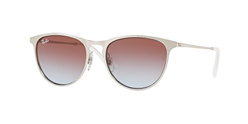 Ray-Ban Junior Kids' Junior Erika Metal Square Sunglasses, Brushed Silver, 50 - Ban Clubmaster Junior Ray Sunglasses