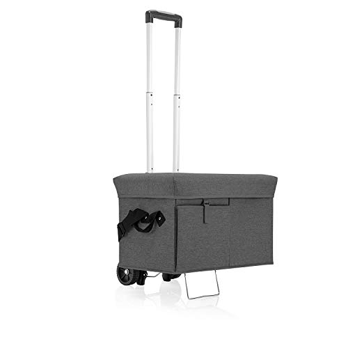 ONIVA - a Picnic Time Brand Ottoman Insulated Collapsible Cooler/Picnic Tote with Wheeled Trolley, Gray (Travel Ascot Mini Bar)