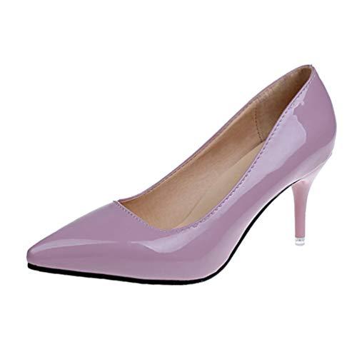 Chaussures Élégant Lavande Bureau Jrenok Pompes Orteils Femmes Dames Minces Talons Hauts Habillées ZqXAqP8