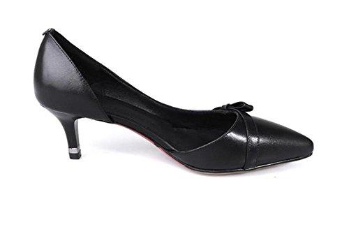 Chaussures de courte talons hauts chaussures pointues orteils avec bouche superficielle Bow Bowes de cuir printemps unique chaussures , black , 36