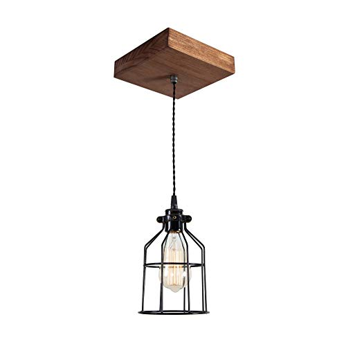 West Ninth Vintage Single Wood Pendant Light   Farmhouse Accent Light   Early American Stain   Black - Light Iron Natural Single