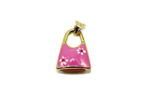 14k Yellow Gold Enamel Pink Handbag with Flower Design Charm/Pendant (Pendant/Charm Only)