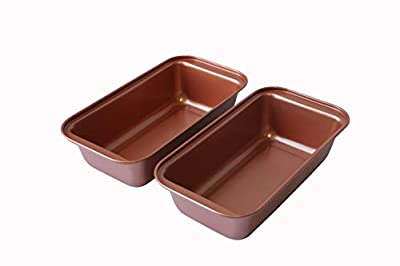 Copper Colored Cookware Loaf Bread Pan Tin by Trademark Innovations (Set of 2)
