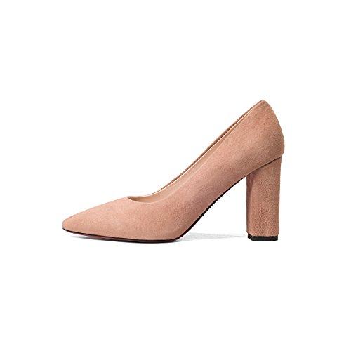 Frauen Block Damen Gelb Rosa Schuhe Pumps Schwarz Gericht Spitz Sexy Echtem Heels Aus Leder Mode JIEEME Damen EOqwWF0F