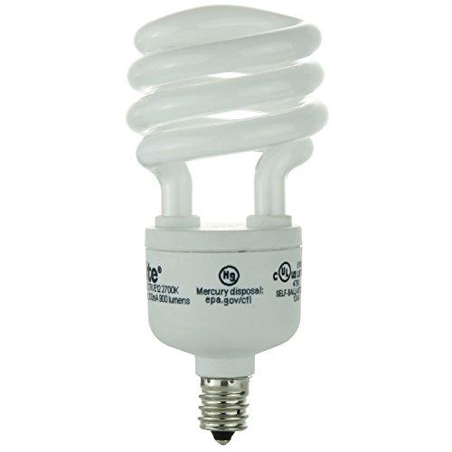 Sunlite SMS13/E/27K/E12 13 Watt Super Mini Spiral Energy Star Light Bulb, Candelabra Base, Warm White [Pack of 6] ()