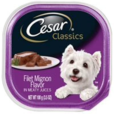 6 Individual Trays of CESAR Canine Cuisine Wet Dog Food Filet Mignon Flavor, 3.5 oz.ea