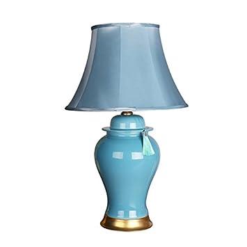 CGN Keramik Tischlampe, Blau Französisch Tischlampe Wohnzimmer ...