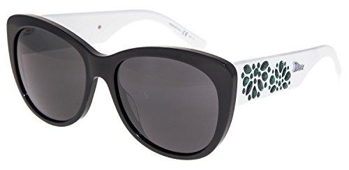 CHRISTIAN DIOR INEDITE White Black Emerald Rubber Cat Eye Sunglasses HDUY1