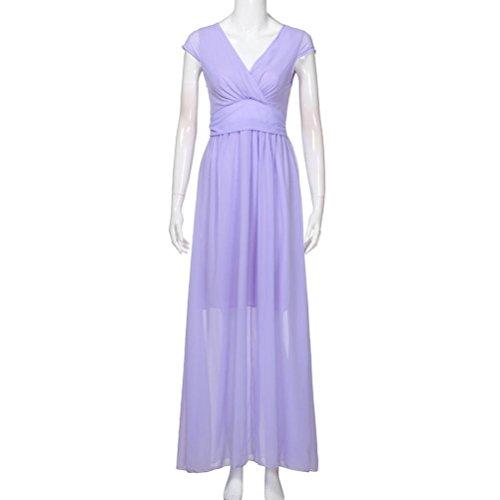 Voberry Kleider Damen Mode Frauen Sommer beiläufige feste Chiffon ...