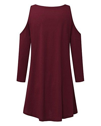 StyleDome Camiseta Larga Mangas 3/4 Casual Elegante Oficina Playa para Mujer Burdeos