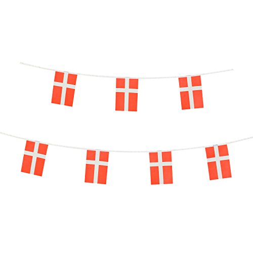 Denmark Country Flag (Denmark Flag,LoveVC 100 Feet Danish Dane Flag National Country World Pennant Banner Flags,Party Decorations For Olympics,Bar,Sports Events,International Festival Celebration)
