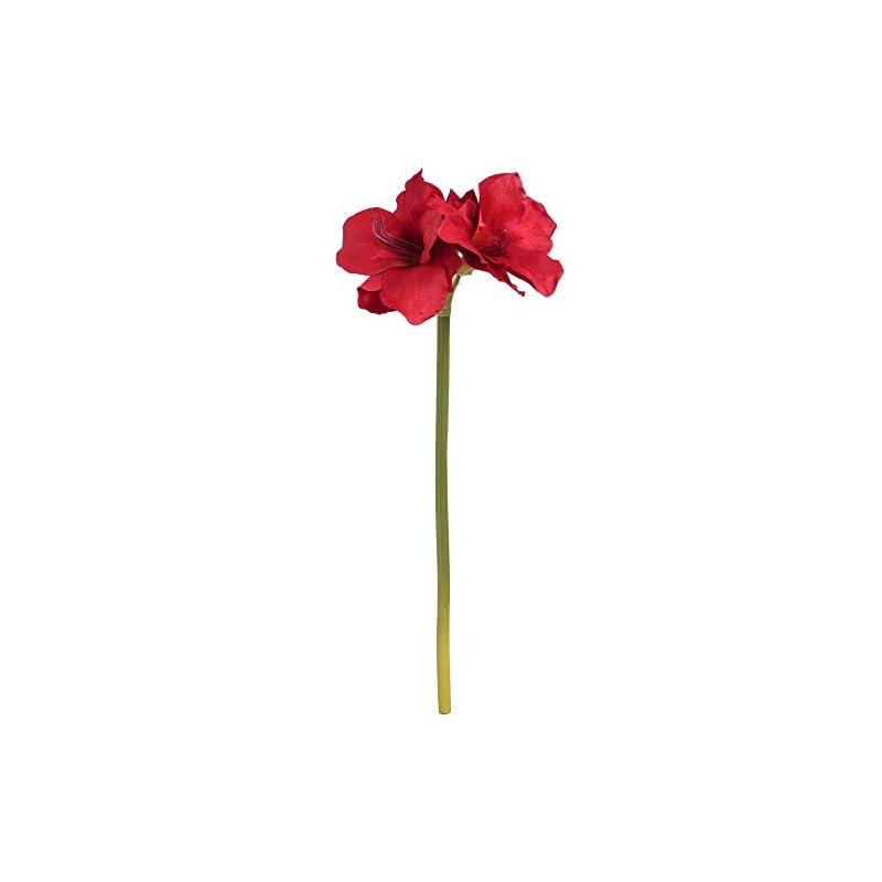 silk flower arrangements hill interiors single artificial amaryllis flower stem (one size) (red)