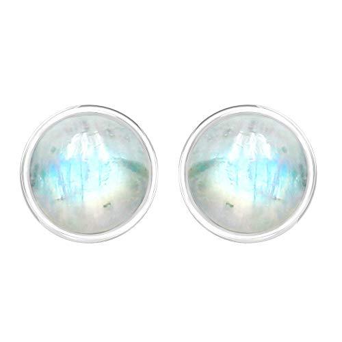 TISHAVI Natural Moonstone 7mm Rounds Sterling Silver Handmade Stud Earrings