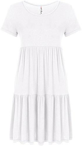Simlu White Summer Dresses For Women Plus Size White T Shirt Dress Tunic Spring (Spring Fashion Dresses)