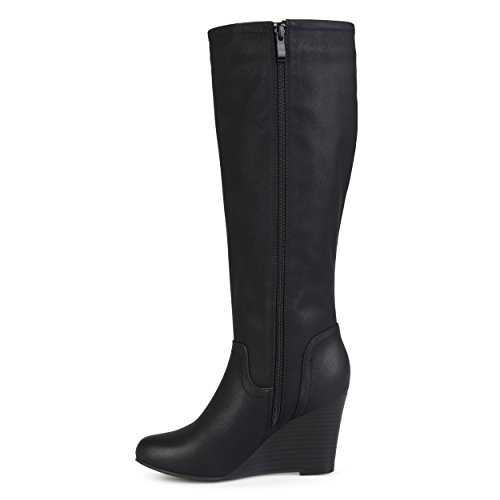 Brinley Co Womens Regular and Wide Calf Round Toe Faux Leather Mid-Calf Wedge Boots Black, 9 Wide Calf US by Brinley Co (Image #2)