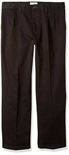 Dockers Men's Relaxed Fit Easy Comfort Pants D4-Pleated, Black, 40 (Dockers Comfort Waist)